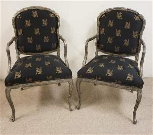 PR OF BAKER CARVED SILVER GILT ARMCHAIRS