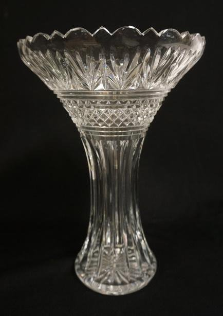 LARGE WATERFORD CUT CRYSTAL VASE SIGNED JIM OLEARY
