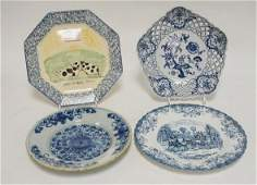 4 BLUE DECORATED PLATES