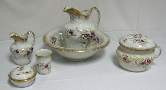 2: 7 PC DECORATED CHAMBER SET; WATER BOWL, PITCHER, HOT