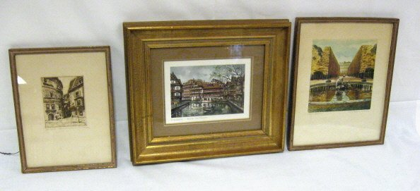 5: GROUP OF 3 PENCIL SIGNED SMALL PRINTS; EUROPEAN CITY