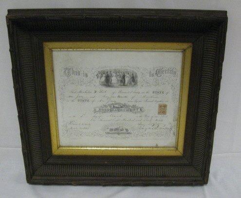 11: 1869 MENDHAM NJ MARRIAGE CERTIFICATE; IN ORIGINAL C