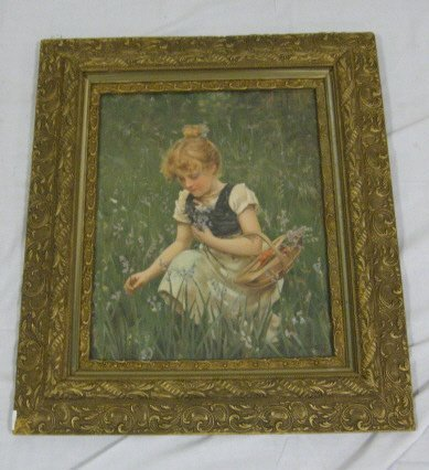 24: PRINT OF A GIRL GATHERING FLOWERS IN A GILT VICTORI