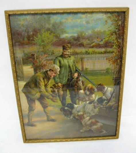 331: PRINT OF HUNTERS & DOGS BY EDM. H. OSTHAUS; SOME D