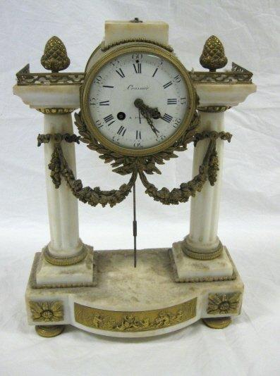1002: VICTORIAN ALABASTER & BRASS CLOCK, CROSNIER; 16 I