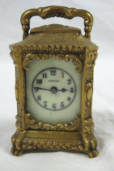 1003: NMC CO. MINIATURE CARRIAGE CLOCK; 3 1/2 IN H; ALL