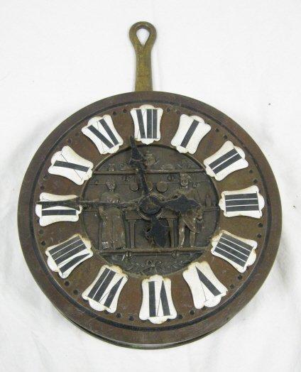 1010: FRYING PAN CLOCK W/EMBOSSED KITCHEN SCENE, 15 IN