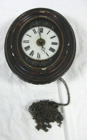 1013: WALL CLOCK W/WOOD FRAME; REVERSE PAINTED AROUND T