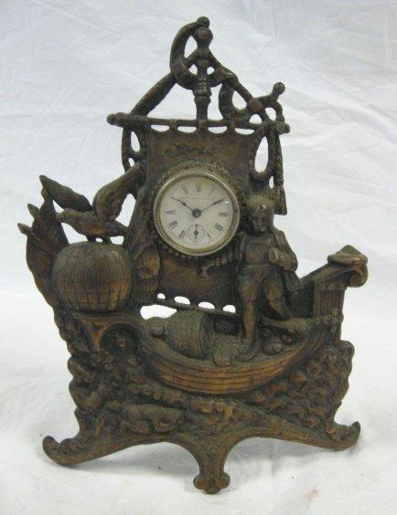 1021: VICTORIAN FIGURAL CLOCK; COLUMBUS SAILING SHIP, G