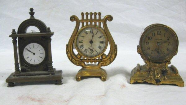 1022: 3 MINI CLOCKS; LYRE FORM, SETH THOMAS & BRONZE UN