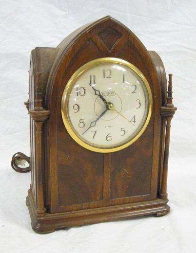 1024: INGRAHAM CLOCK IN GOTHIC CASE W/STRIKE, ELECTRIC,