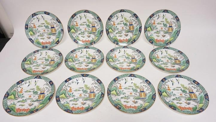 SET OF 12 CROWN STAFFORDSHIRE PLATES FOR TIFFANY AND