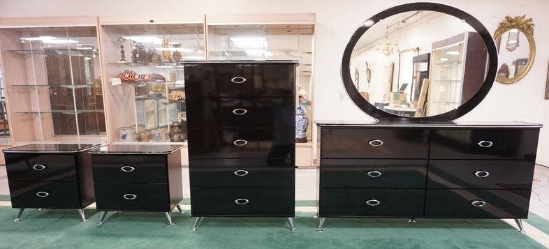 5 PC BLACK LACQUER AND CHROME MODERN BEDROOM