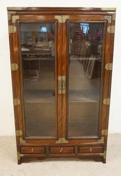 ASIAN DISPLAY CABINET WITH 2 GLASS DOORS