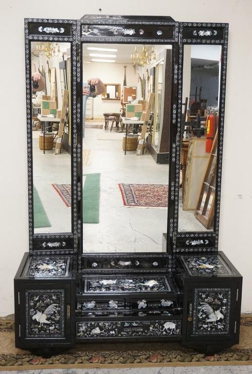 BLACK LACQUER VANITY WITH MOP INLAY AND TRIPLE MIRROR