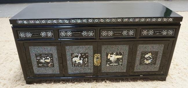 BLACK LACQUER MOP INLAID LOW CHEST