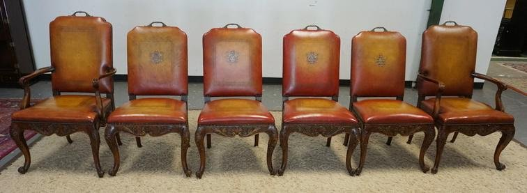MAITLAND SMITH SET OF 6 LEATHER COVERED DINING CHAIRS
