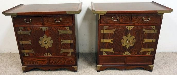 PAIR OF KOREAN SMALL CABINETS WITH BRASS TRIM