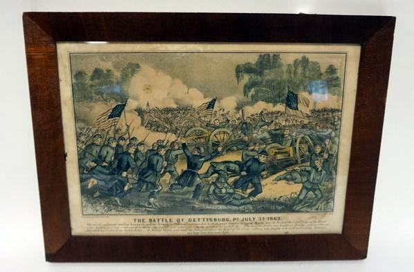 CURRIER AND IVES PRINT, THE BATTLE OF GETTYSBURG