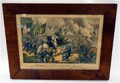 CURRIER AND IVES PRINT GEN MEAGHER AT THE BATTLE OF