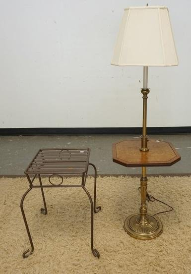LOT; FLOOR LAMP W/ TABLE CENTER & IRON PLANT STAND