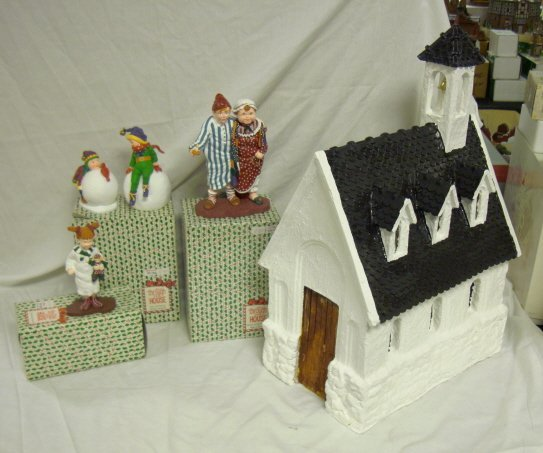 3006: DEPT 56; CHURCH WITH *ALL THRU HOUSE*, MAMMA & PA