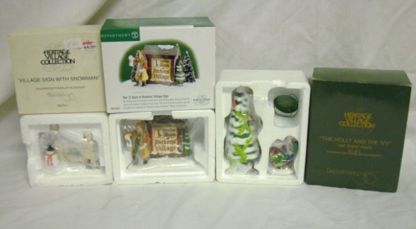 3015: DEPT 56; 3 VILLAGE ACCESSORIES; VILLAGE SIGN, 12