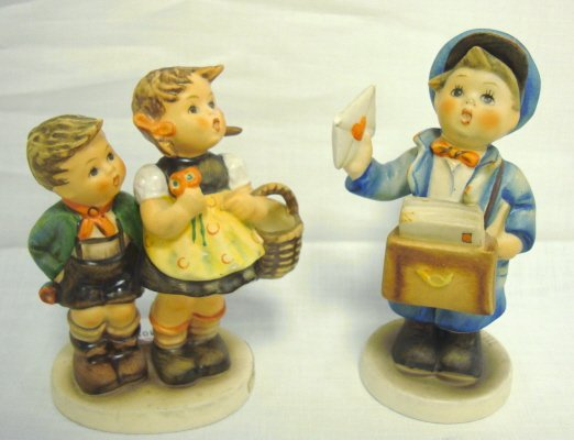 2002: 2 SMALL HUMMEL FIGURES; *TO MARKET* & *MAIL CALL*