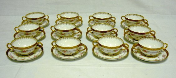2003: SET OF OLD ABBEY LIMOGES 2 HANDLED CUPS & SAUCERS
