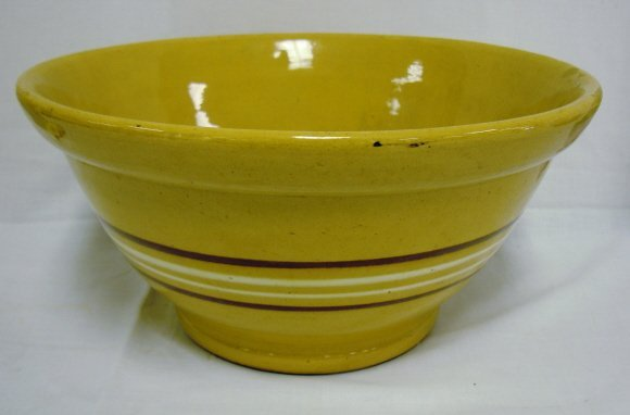 2005: LARGE YELLOWARE MIXING BOWL W/BROWN & WHITE BANDS