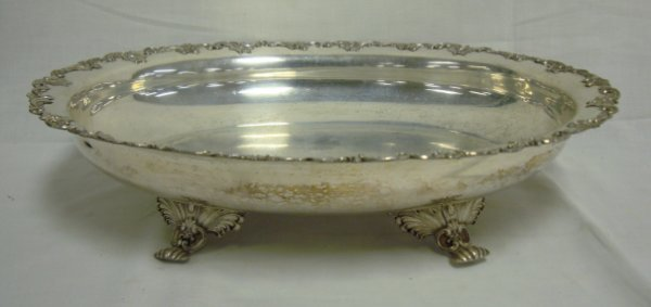 2014: LARGE FOOTED SILVER PLATED SERVING BOWL; HAS RELI