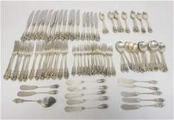 93 PC WALLACE GRAND BAROQUE STERLING SILVER FLATWARE