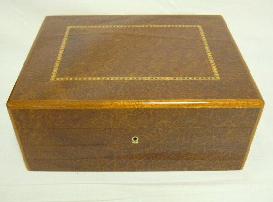 2: INLAID BURL BOX W/VELVET LINER & KEY; 12 1/2 IN X 9