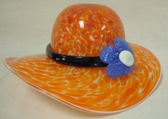 3: BLOWN GLASS HAT, RED SPATTER & APPLIED FLOWER; 10 1/