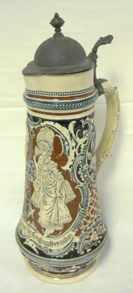 4: LARGE GERMAN STEIN, 16 IN H; PEWTER LID REPAIRED WHE