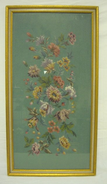17: FRAMED FLORAL NEEDLEPOINT; OVERALL DIMENSIONS 20 1/