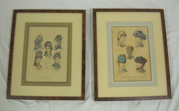 18: PR OF FRAMED FRENCH FASHION PRINTS, HATS; OVERALL D