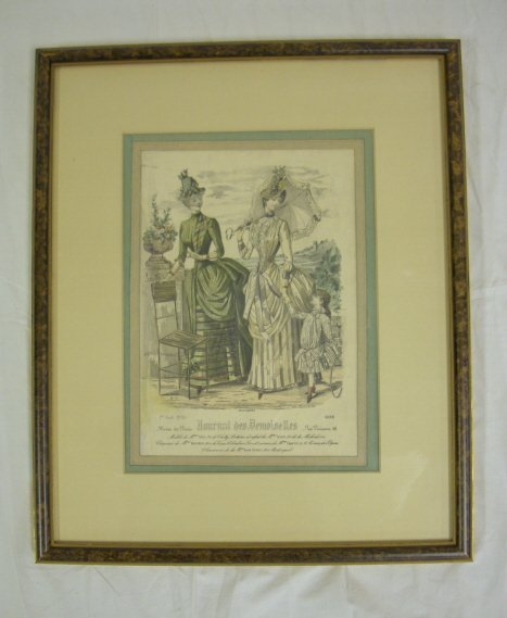 19: FRENCH FASHION PRINT, 2 LADIES & A YOUNG GIRL; OVER