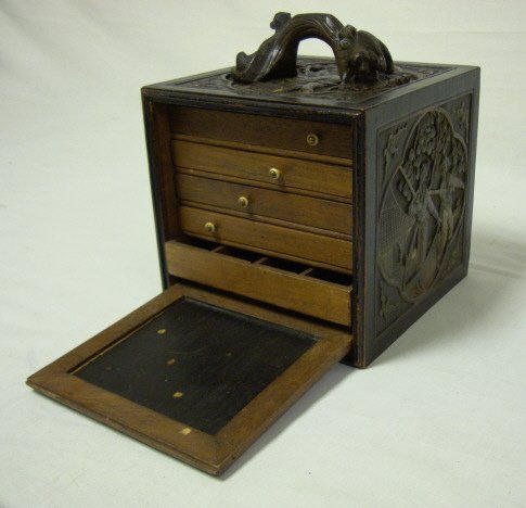 173: MAH JONG SET IN HEAVILY CARVED WOODEN BOX; DOG & T
