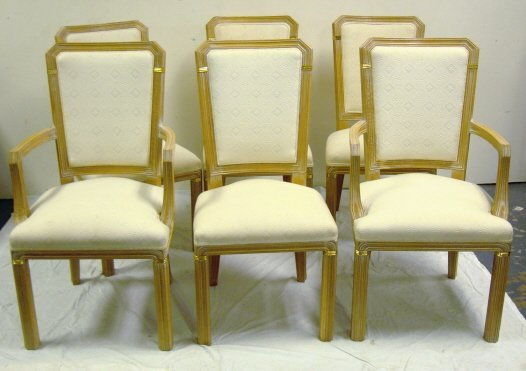 233: SET OF 6 UPHOLSTERED DINING CHAIRS W/BRASS TRIM; 2