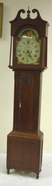 1288: JOHN NICHOLL, BELVIDERE, NJ TALL CASE CLOCK; HAND