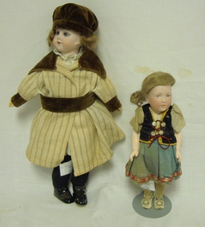1425: 2 SMALL BISQUE HEAD DOLLS; ONE MARKED GERMANY, 14