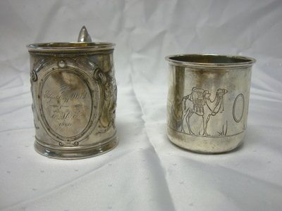 2001: 2 STERLING DECORATED CHILDS MUGS; INTERNATIONAL A