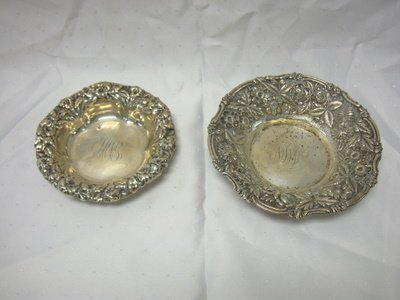 2002: 2 STERLING REPOSE BOWLS; ONE MARKED JE CALDWELL &