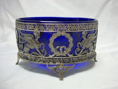 2019: 800 SILVER FOOTED BOWL W/WINGED GRIFFINS & COBLAT