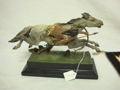 3179: PAINTED BRONZE INDIAN ON HORSEBACK, SHOOTING; 8 I