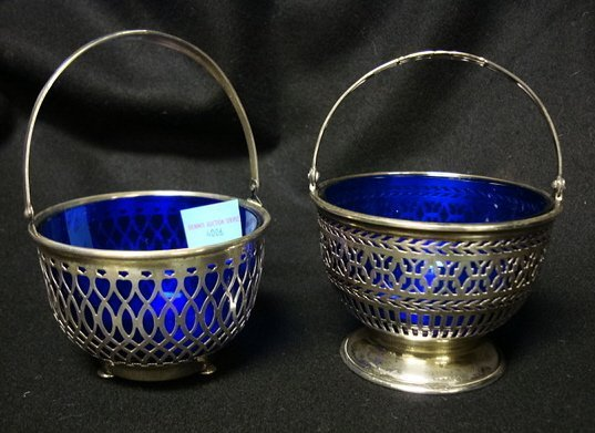 4006: TWO COBALT BLUE LINED BASKETS, JE CALDWELL & WALL
