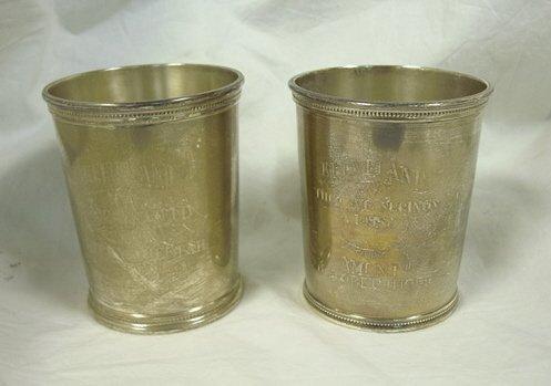 4014: TWO SILVER CUPS, MARKED J. SCEARCE SHELBYVILLE KE