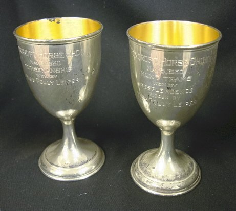 4016: PAIR OF WALLACE SILVER GOBLETS; FOXCROFT HORSE SH