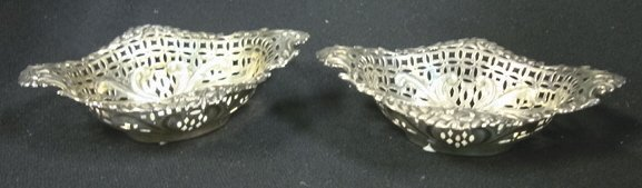 4019: TWO STERLING CUT OUT NUT DISHES, MARKED WS CS; 3.